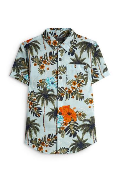 Blauw overhemd met palmbomenprint voor jongens