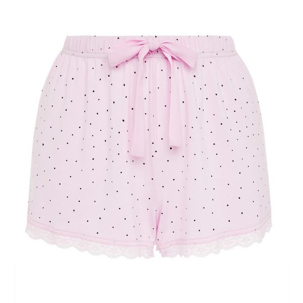 Rosafarbene Pyjamashorts aus gepunktetem Jersey