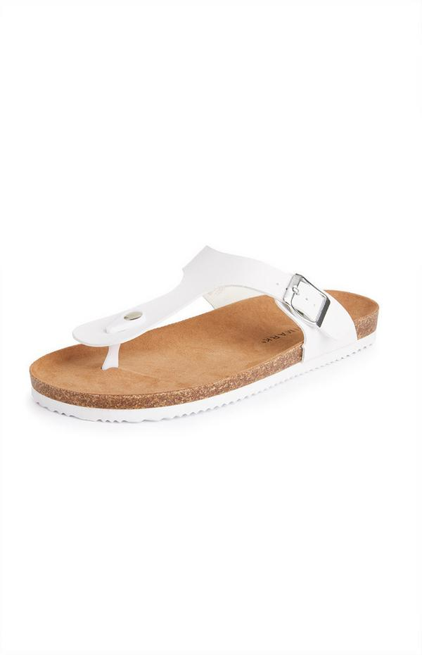 White T-Bar Footbed Sandals