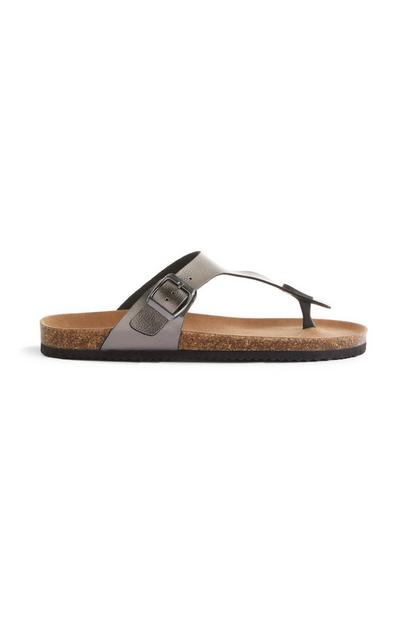 Grey Single Strap T-Bar Sandals