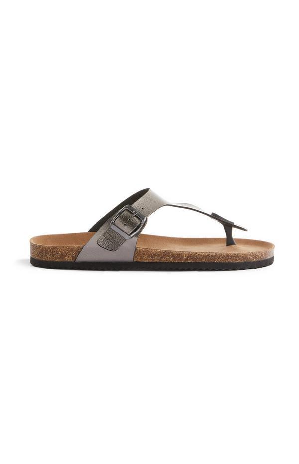 Grijze sandalen met riempje en bandje