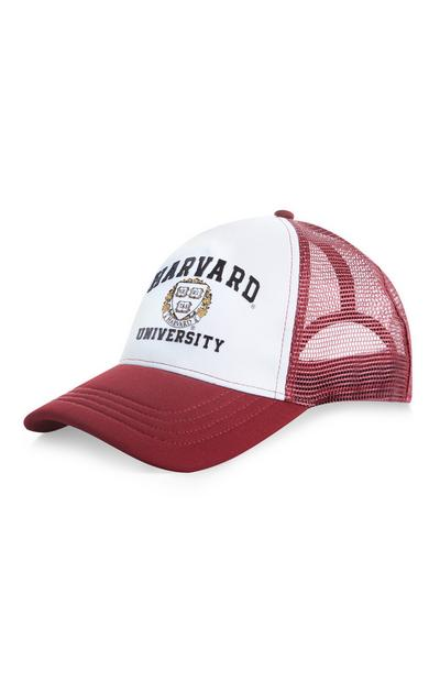 Burgundy And White Harvard Mesh Cap