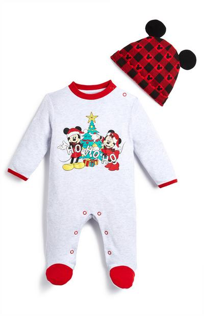 Mickey and Minnie White Xmas Sleepsuit And Hat