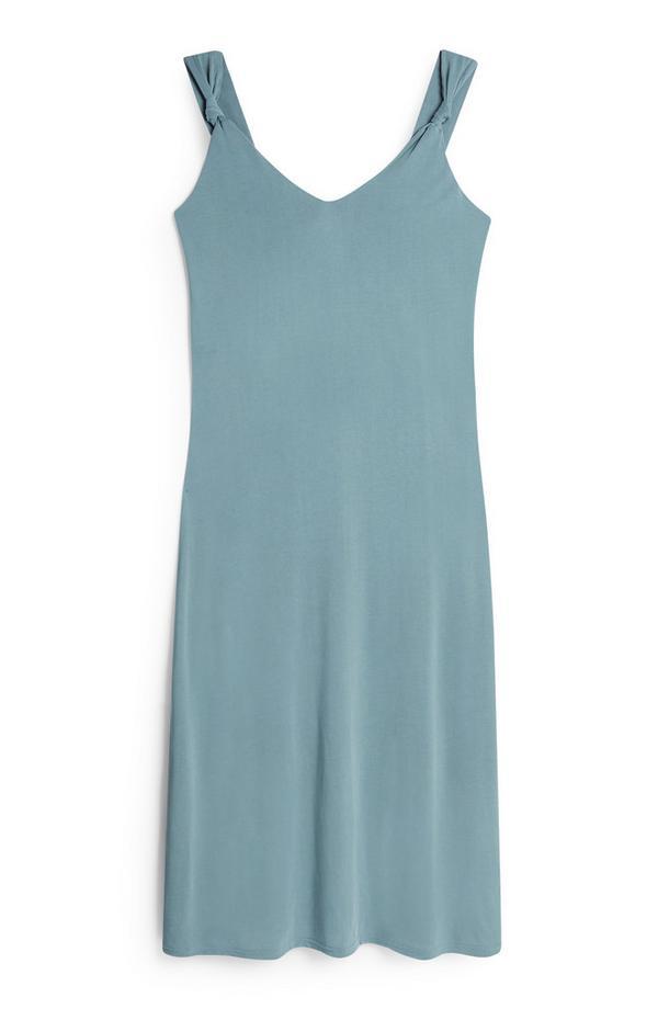 Blue Strappy Knot Midi Dress