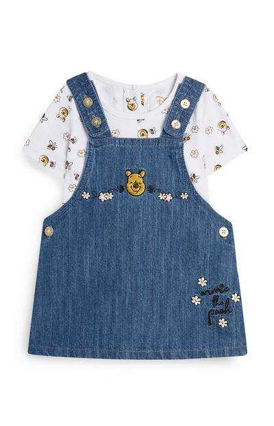 Baby Girl Winnie The Pooh Denim Pinafore And T-Shirt