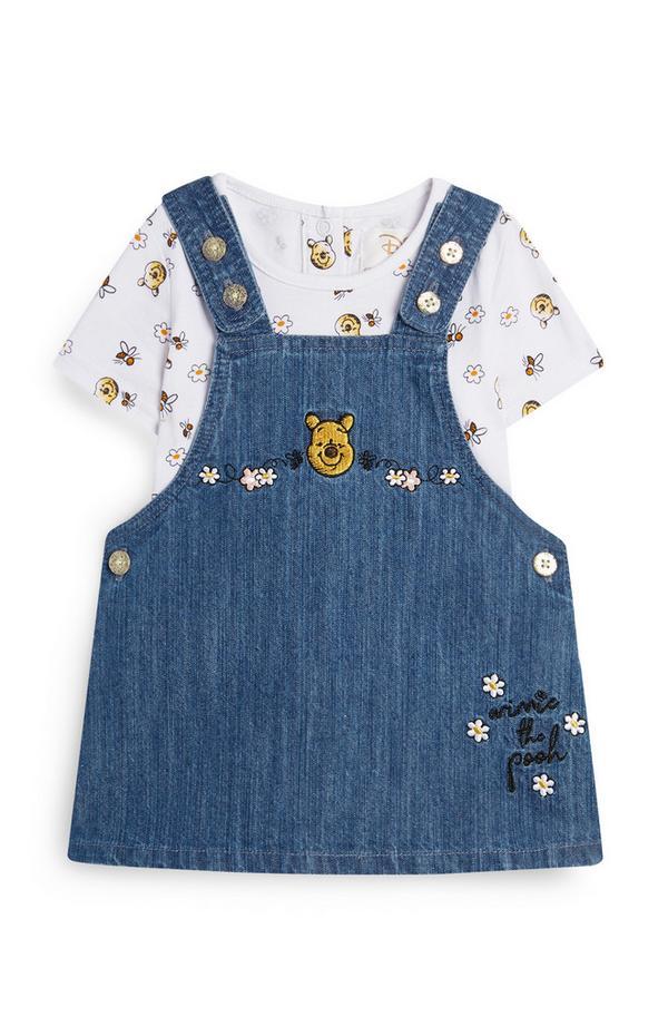 Baby Girl Winnie The Pooh Denim Overall Set