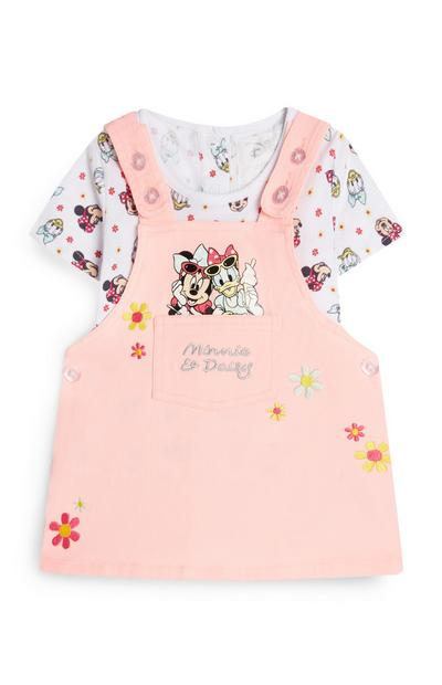 Baby Girl Pink Minnie And Daisy Overall Dress And T-Shirt