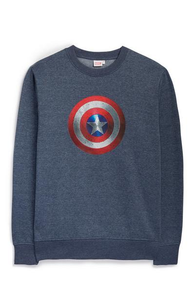 Modri pulover Stotnik Amerika z okroglim ovratnikom