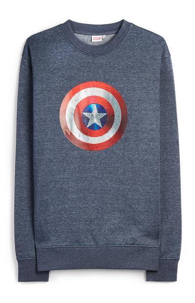 Mornarsko moder pulover Captain America s ščitom in okroglim ovratnikom