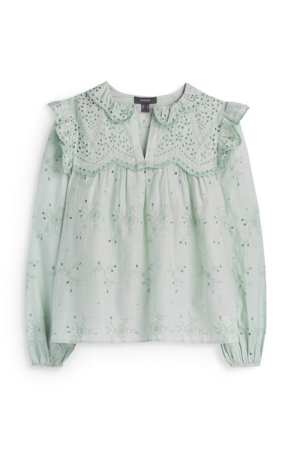 Mint Frill Collar Embroidered Shirt