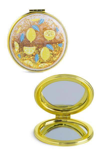 Miroir compact à motif citron pailleté