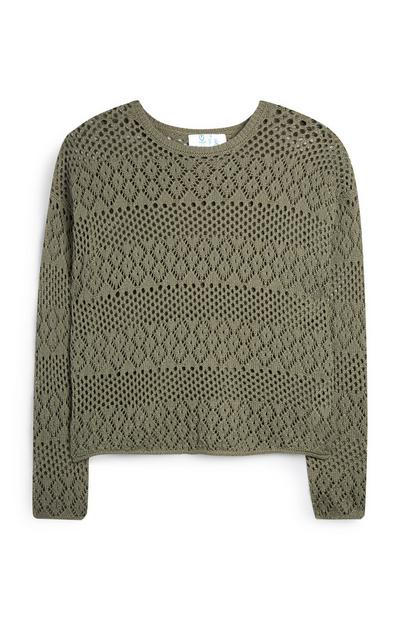Olive Pointelle Long Sleeve Top