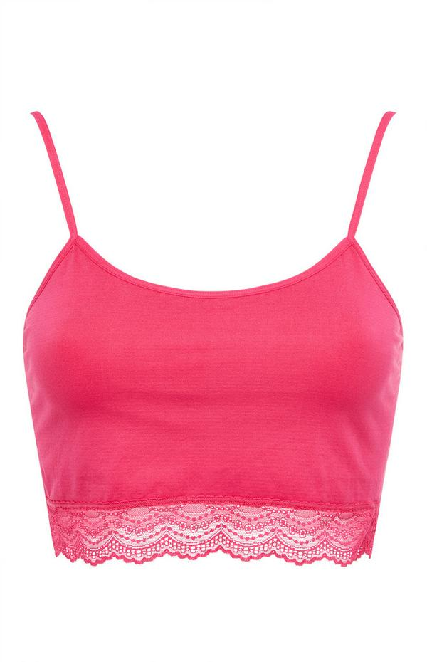 Hot Pink Seamfree Lace Trim Cropped Camisole