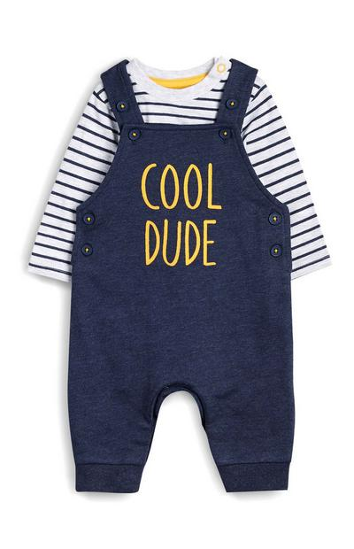 Blue Cool Dude Pinafore and Striped T-Shirt
