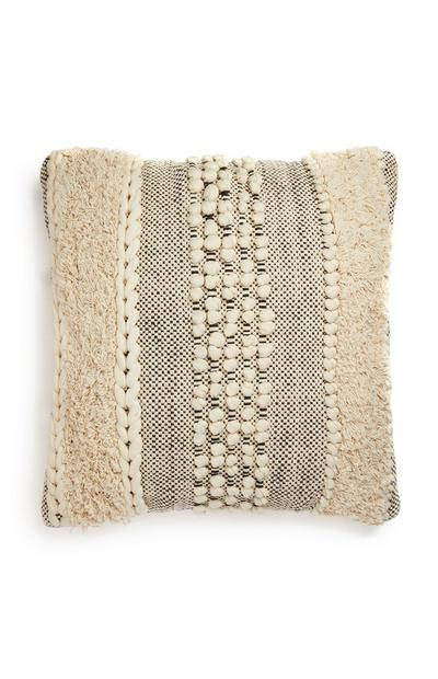 Cream And Gray Textured Cushion