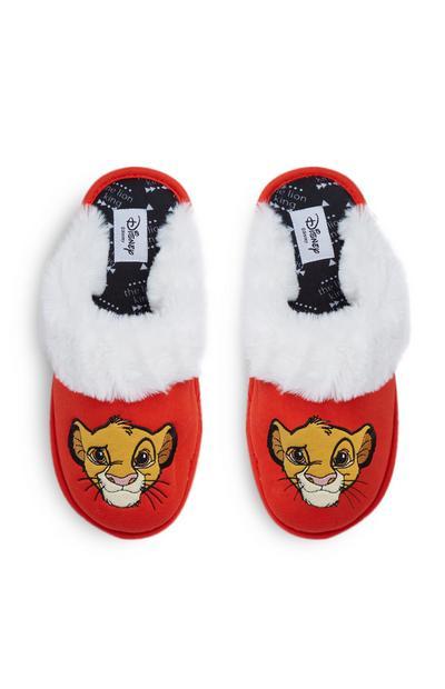 Chaussons duveteux rouges Le Roi Lion