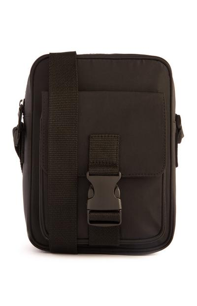 Messenger bag nera con fibbia in nylon