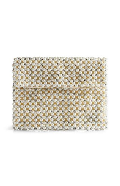 Cream Pearl Clutch Bag