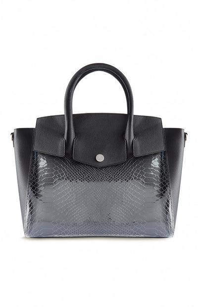 Black Transparent Snake Print Tote