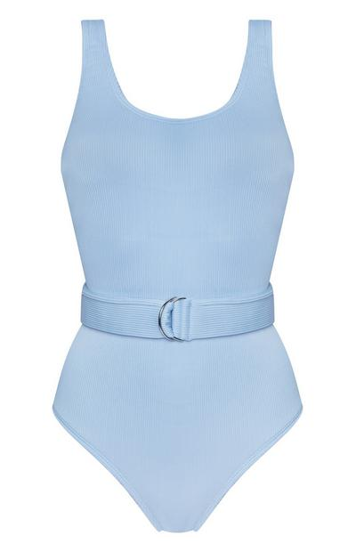 Blue Belted Buckle Swimsuit