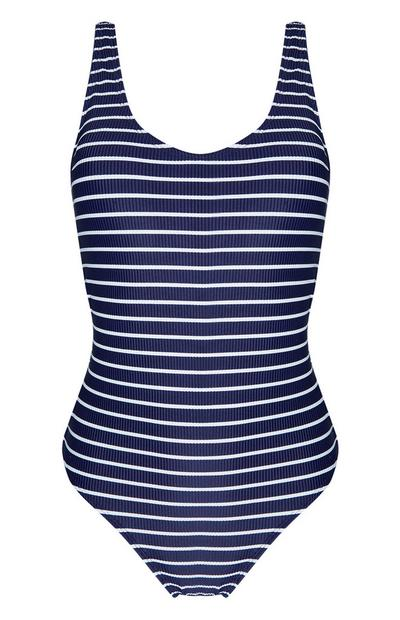 Navy And White Striped Swimsuit
