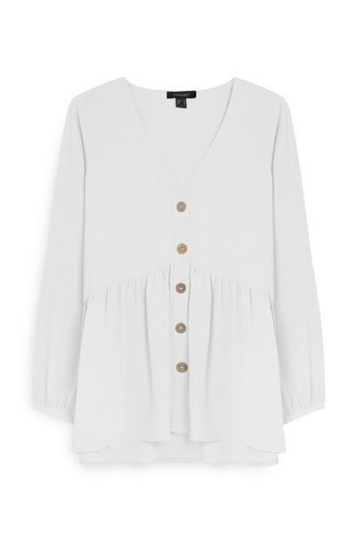 Ivory Buttoned Peplum Blouse