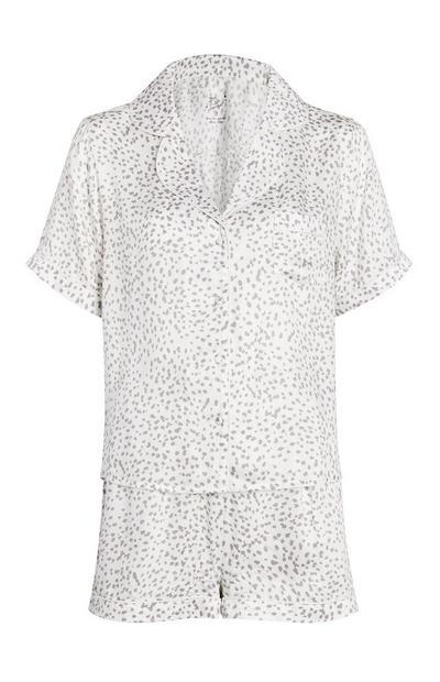 Wit/grijze set met pyjamashort en dierenprint, 2-delig