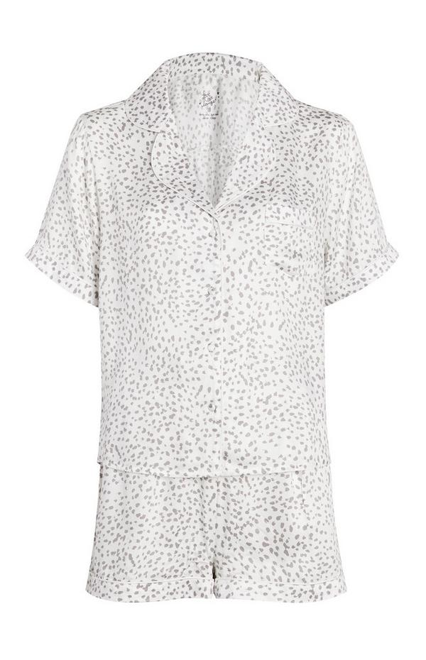 Belo-siva dvodelna kratka pižama z živalskim potiskom