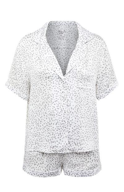 Pijama c/calções botões padrão bolinhas monocromático