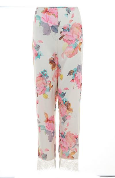 White Floral Satin Lace Hem Pants
