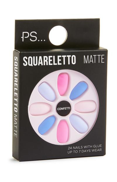 Squareletto Confetti Blue And Pink Matte Faux Nails