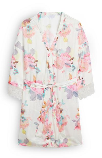 White Floral Satin Robe