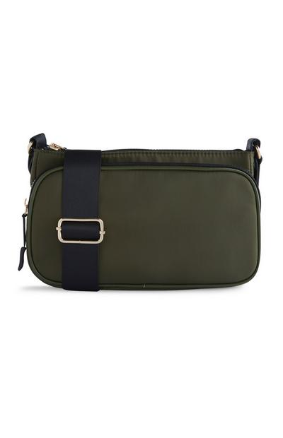 Khaki Nylon Cross Body Bag