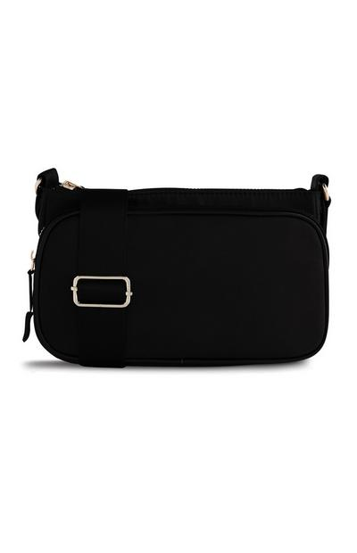Black Nylon Buckle Cross Body Bag