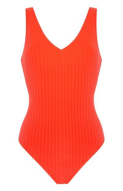 Neonorangefarbener, gerippter Badeanzug mit V-Ausschnitt