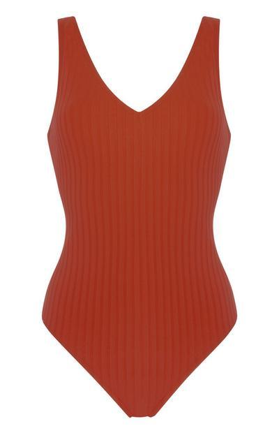 Terracotta Ribbed V-Neck Swimsuit