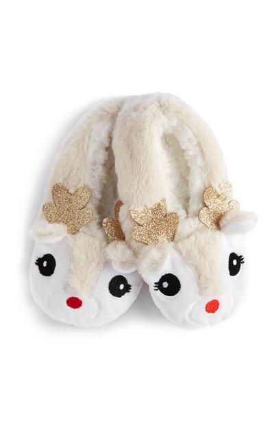 White Reindeer Slipper Socks