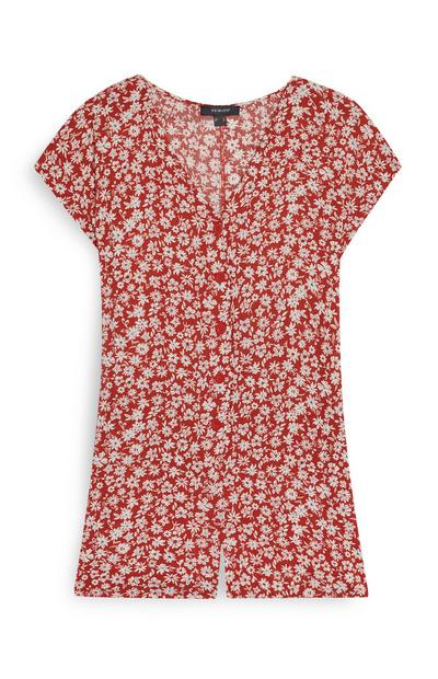 Red Mini Floral Playsuit