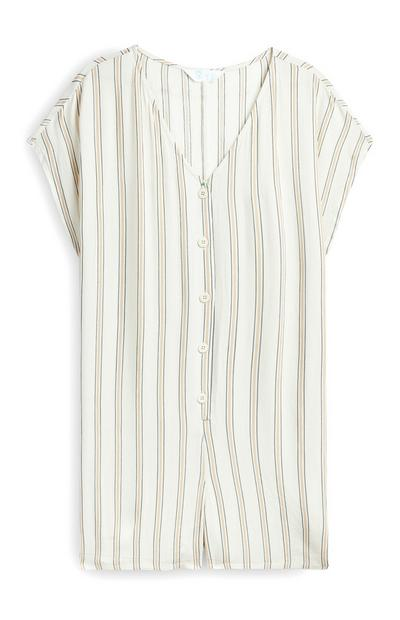 Striped Woven Button Front Playsuit