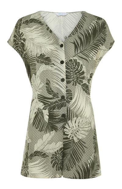 Leaf Print Woven Playsuit