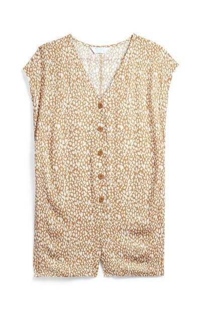 Leopard Woven Button Front Playsuit