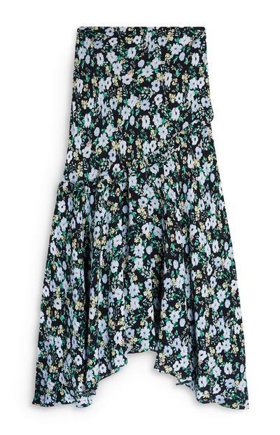 Blue Floral Ruffle Midi Skirt