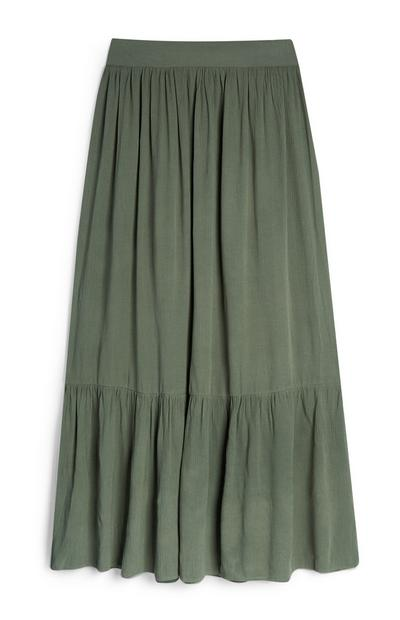 Falda larga verde fruncida de punto