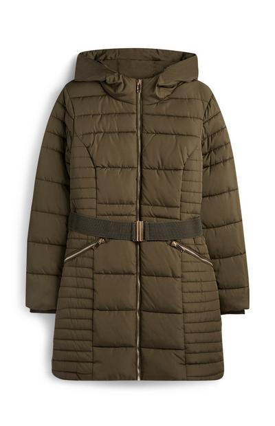 Khaki Puffer Quilted Coat With Belt