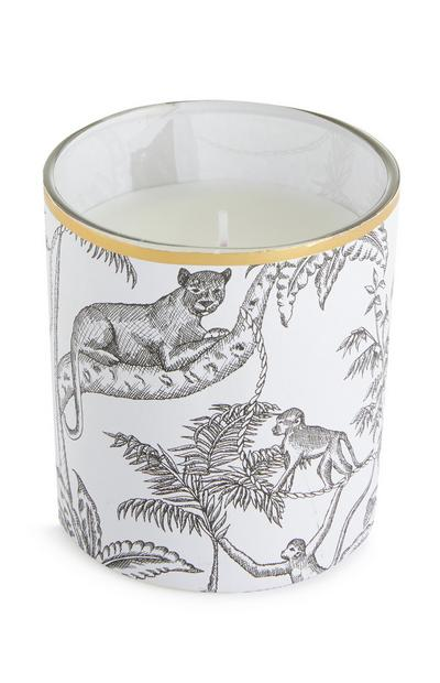 White Leopard Print Candle