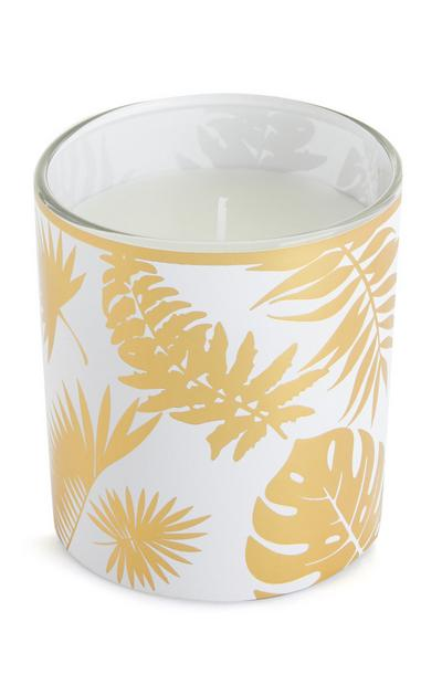 White Golden Leaf Print Candle