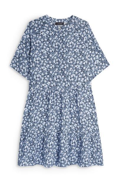 Blue Floral Print Tiered Mini dress