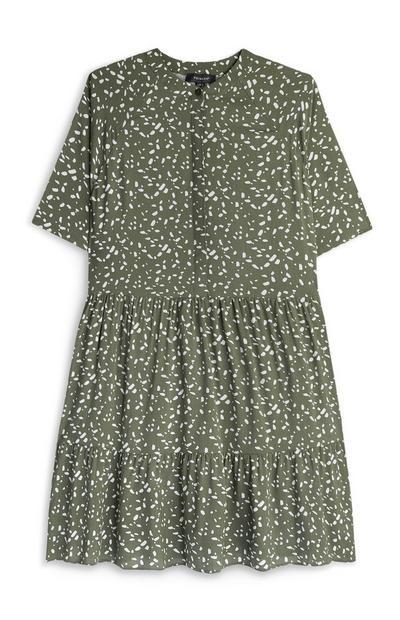 Mini robe kaki à superpositions
