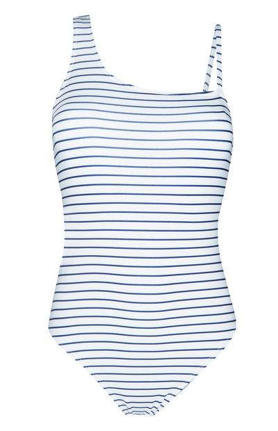 White And Blue Striped Swimsuit