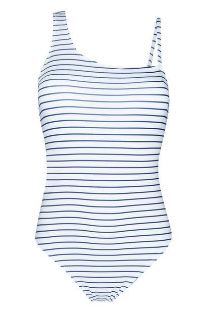 Weiß-blau gestreifter Badeanzug